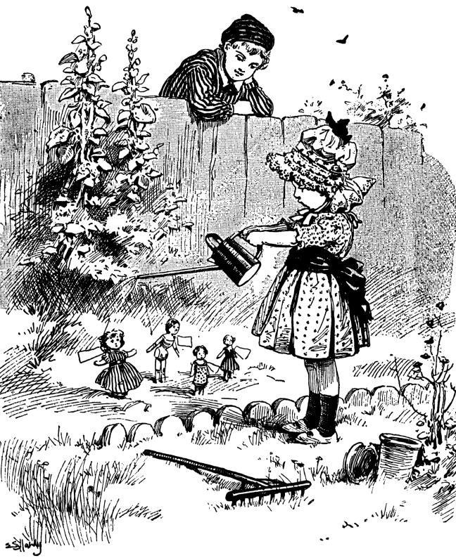 Illustration Strange Garden from Mother's Yellow Fairy Tale Book.  Arranged by Laura Dent Crane.  Henry Altemus Company:  Philadelphia. 1905.