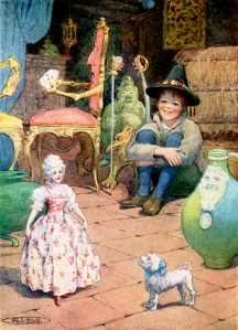 """Illustration: """"all the bric-a-brac in motion."""" Illustrator: Maria L. Kirk from the Nurnberg Stove by Louisa de la Rame."""