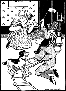 """Illustration: """"Clear the Track"""" from Mother's Yellow Fairy Tale Book"""