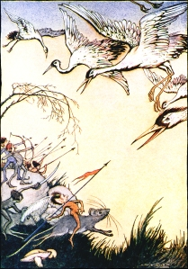 """Illustration from Tanglewood Tales in THE PYGMIES. """"They were constantly at war with the cranes."""""""