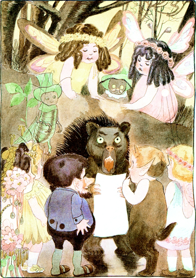 Illustration by M. T. Ross from A Year With the Fairies.  Ground-Hog Day.