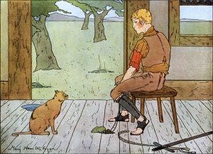 """Illustration: """"The Miller Gave His Cat to His Youngest Son."""" PUSS IN BOOTS. Illustrated by: Mary Hamilton Fry. Fairy Tales Every Child Should Know"""