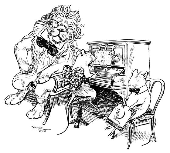 Illustration:  Music Lesson.  Animal Antics