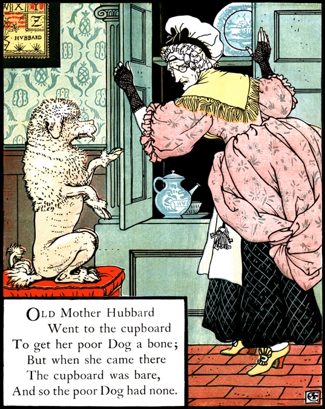 Illustration by Walter Crane: Old Mother Hubbard and her Dog