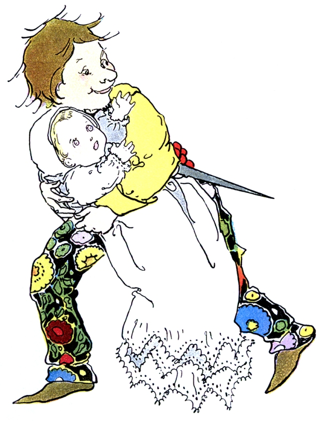 Illustration: Queer Little Man Takes Baby from Rumpel-Stilt-Skin in Once Upon a Time.