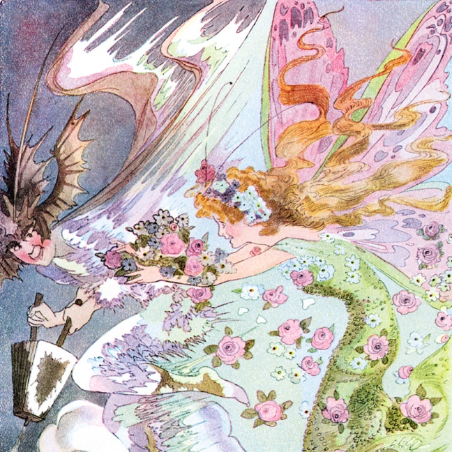 Illustration:  A Year With the Fairies.  Illustrator M. T. (Penny) Ross.  Author:  Anna M. Scott.   Illustrations M. T. Ross.  Published by P. F. Volland & Co.  Chicago, U.S.A.  1914.