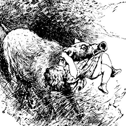 Illustration: Boar Carries Off Baby from Prattles