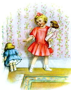 Illustration: Girl gives her doll a scolding and a time out. Prattles.
