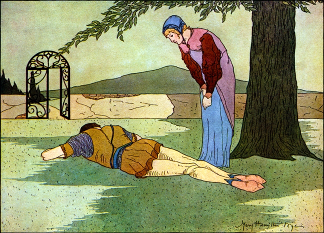 Illustration from Beauty and the Beast.  Fairy Tales Every Child Should Know.  Edited by Hamilton Wright Mabie  Illustrated and Decorated by:  Mary Hamilton Fry.  George Sully & Company:  New York.  1915.