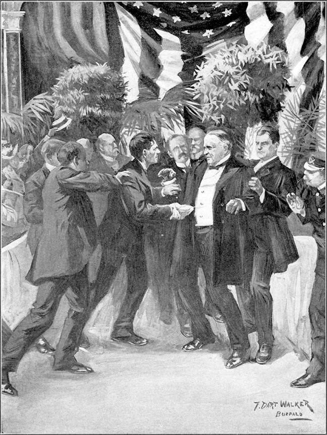 Illustration:  Assassination of President McKinley.  THE AUTHENTIC LIFE OF WILLIAM McKINLEY, Our Third Martyr President.  Alexander K. McClure and Charles Morris.  Illustrations by T. Dart Walker. Publisher  W. E. Scull. 1901.