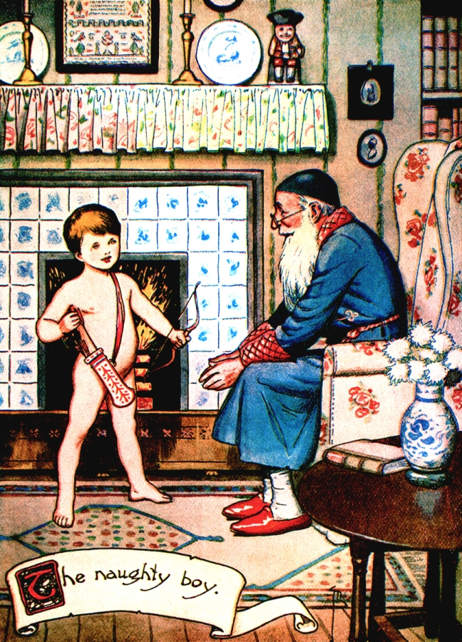 "Illustration:  ""The Naughty Boy."" Hans Andersen's Fairy Tales.  By William Woodburn.  Illustrated by Gordon Robinson.  W. & R. Chambers, Limited: London & Edinburgh. 1917."