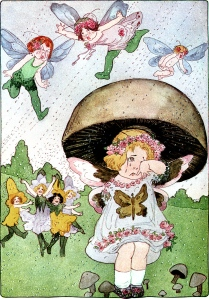 Illustration: April Fools. A YEAR WITH THE FAIRIES. Written by Anna M. Scott. Illustrations by M. T. Ross. Published by P. F. Volland & Co.: Chicago. 1914.