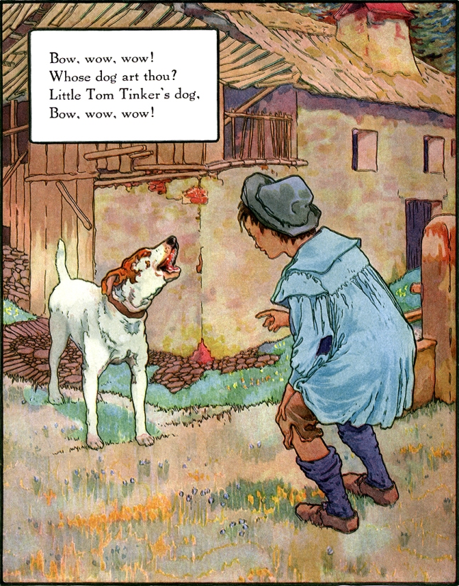 Illustration:  Bow Wow Wow.  Mother Goose - Volland Popular Edition.  Edited by Eulalie Osgood Grover.  Illustrated by Frederick Richardson.  Published by P. F. Volland Company: New York, Chicago & Toronto. 1921.