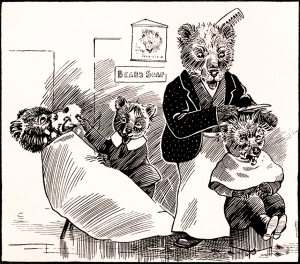 "Illustration: ""The Careless Barber."" Animal Antics By Louis Wain. S. W. Partridge & Co: London. Ca 1900-1910."