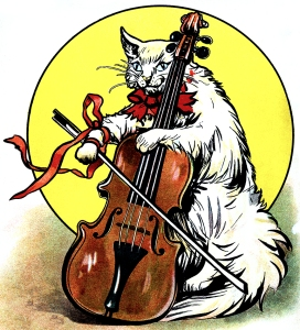 Illustration: The Cat and the Fiddle. Dot's Picture Book Illustrations by: F. M. Barton, E. Heatly, N. Westrup & S. Carter. Dean & Son, Ltd.: London. Ca 1908.