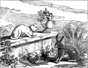Illustration: The Cat and The Hare. Tiny and Her Vanity. McLoughlin Bros.: New York. 1892.