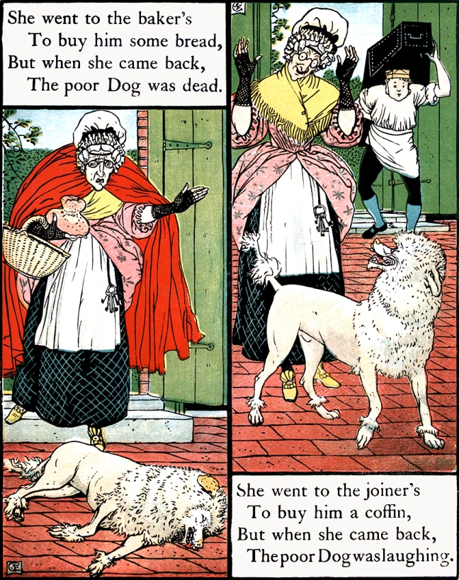 Illustration:  The Poor Dog Was Dead.  Mother Hubbard.  Walter Crane.