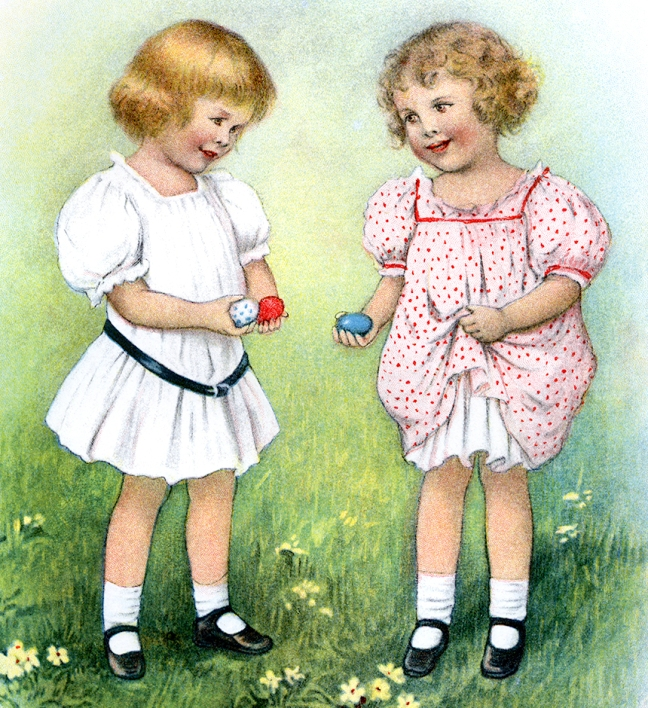 Illustration:  Easter Egg Hunt.  Prattles For Our Boys and Girls Hurst & Co.:  New York.  1912.