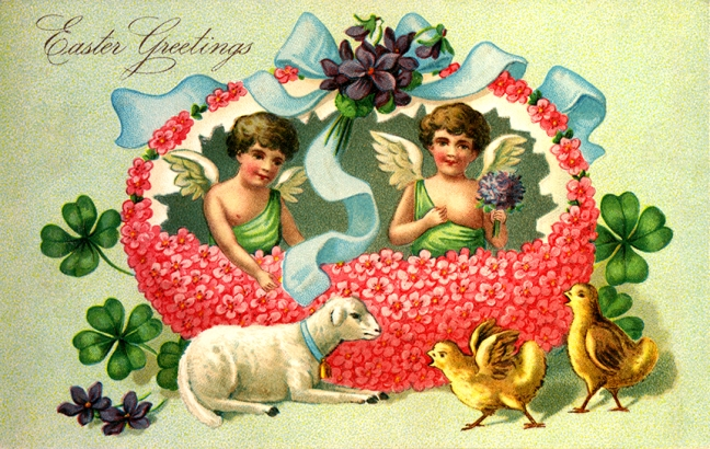 Illustration: Easter Greeting.  Postcard Printed in Germany.  1908