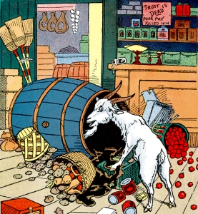 Illustration: Billy in Grocery Store. Billy Whiskers In An Aeroplane. Written by Frances Trego Montgomery. Illustrations by Constance White. The Saalfield Publishing Company: Chicago - Akron, Ohio - New York. 1912.