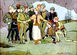 Illustration: THE TWELVE BROTHERS (Grimm's Fairy Tales) Fairy Tales Every Child Should Know. Edited by: Hamilton Wright Mabie Illustrated and Decorated by: Mary Hamilton Fry George Sully & Company: New York. 1915.