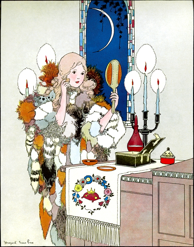 Illustration:  From the story Furball.  ONCE UPON A TIME - A BOOK OF OLD-TIME FAIRY TALES.  Edited by Katharine Lee Bates.  Illustrated by Margaret Evans Price.  Rand McNally & Company: Chicago & New York. 1921.