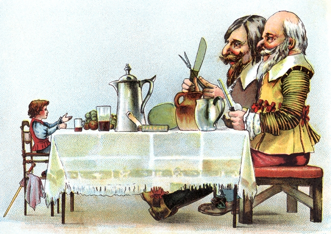 Illustration:  Jack At The Table With Two Giants.  Jack The Giant Killer.  W. B. Conkey Company: New York. 1898.