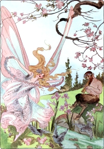 Illustration: Lady Spring. A YEAR WITH THE FAIRIES. Written by Anna M. Scott. Illustrations by M. T. Ross. Published by P. F. Volland & Co.: Chicago. 1914.