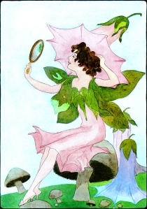 Illustration: Morning-Glory's Easter Bonnet. A YEAR WITH THE FAIRIES. Written by Anna M. Scott. Illustrations by M. T. Ross. Published by P. F. Volland & Co.: Chicago. 1914.