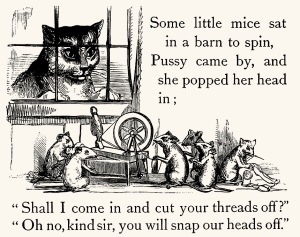 Illustration: Cat & Mice. Mother Goose's Nursery Rhymes. McLoughlin Brothers: New York. Ca 1900.