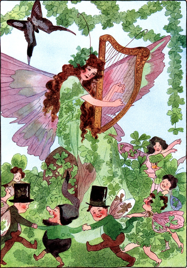 Illustration:  St. Patrick's Day from A YEAR WITH THE FAIRIES. Written by Anna M. Scott. Illustrations by M. T. Ross. Published by P. F. Volland & Co.: Chicago. 1914.