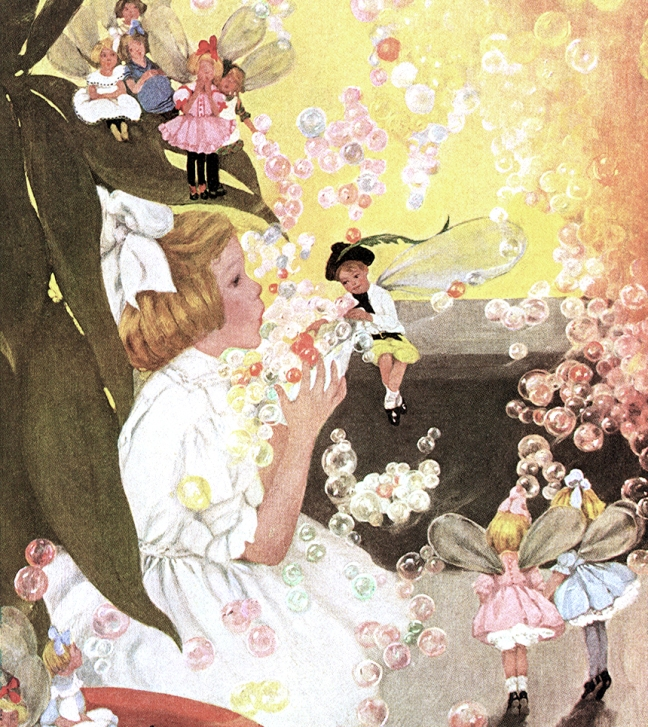 Illustration:  Lovely Floating Bubbles.  The Magical House of Zur.  By Mary Dickerson Donahey.  Barse & Hopkins: New York. 1914.