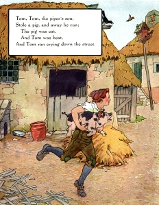 Illustration: Tom, Tom, the Piper's Son. Mother Goose - Volland Popular Edition. Edited by Eulalie Osgood Grover. Illustrated by Frederick Richardson. Published by P. F. Volland Company: New York, Chicago & Toronto. 1921.