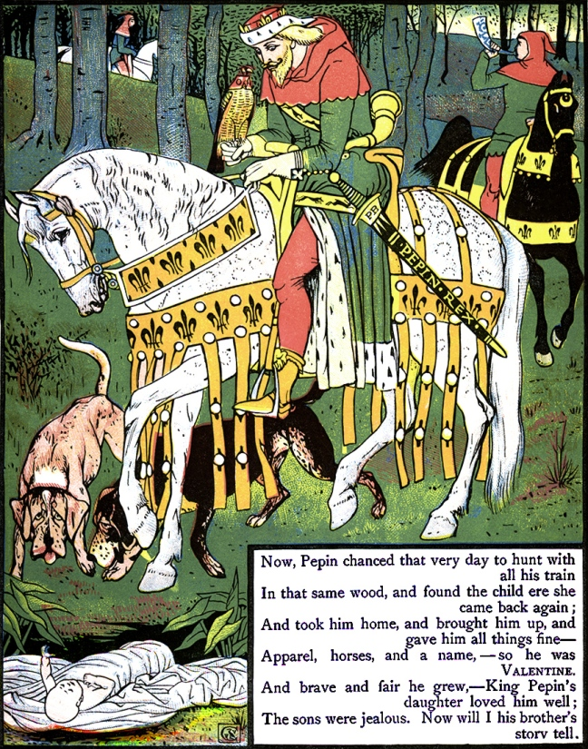 Illustration from the story Valentine and Orson.  The Three Bears' Picture Book.  Illustrated by Walter Crane.  George Routledge and Sons: London & New York.
