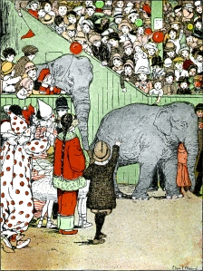 Illustration: Elephants in Boston. THE ADVENTURES OF MOLLIE, WADDY AND TONY. Written by Paul Waitt. Illustrations by Clara E. Atwood. Little, Brown, and Company: Boston. 1915.