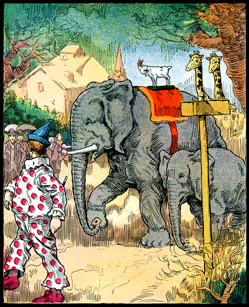 Illustration:  Billy On Elephant.  Billy Whiskers At The Circus.  Written by F. G. Wheeler.  Illustrations by Arthur DeBebian.  The Saalfield Publishing Company: New York – Akron, Ohio – Chicago.