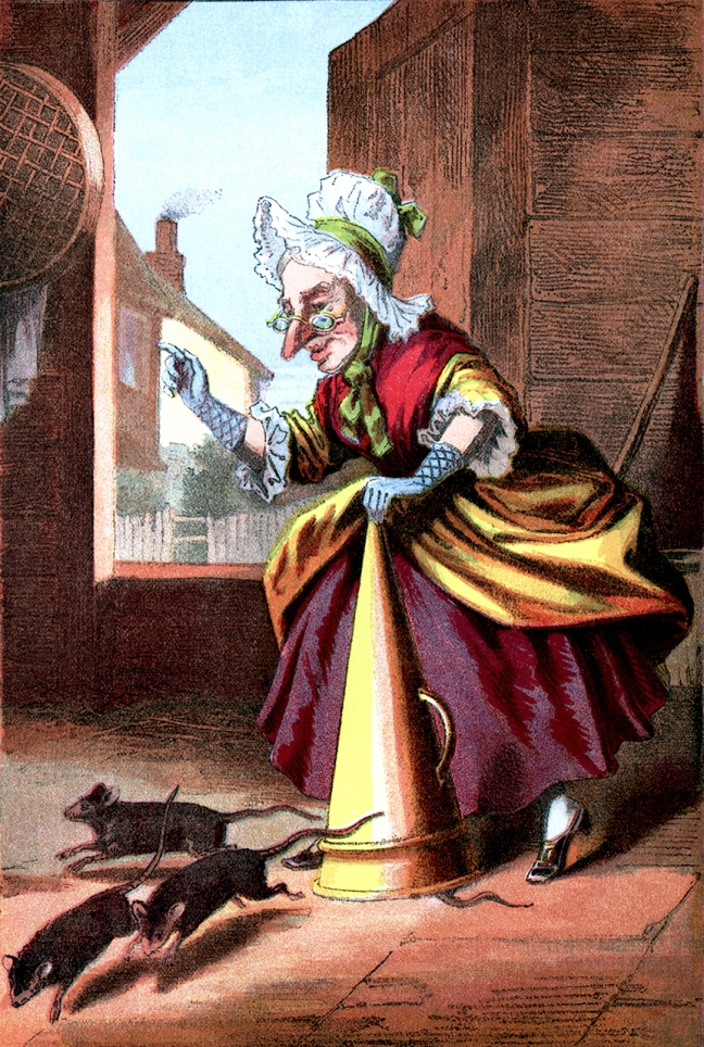 Illustration:  A Capital Cure For Rats from Nursery Colored Picture Book.  McLOUGHLIN BROS.:  NEW YORK.  Ca 1870