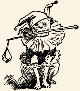 Illustration: Clown Dog. THREE LITTLE PIGS. Illustrations by John Rea Neill. Henry Altemus Company: Philadelphia. 1904.