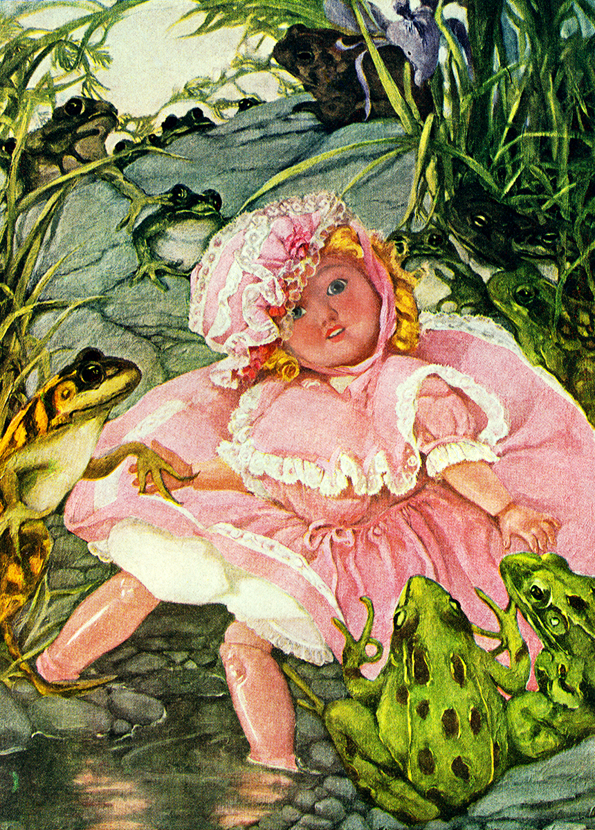 Illustration:  Doll and Frogs.  The Magical House of Zur.  By Mary Dickerson Donahey.  Barse & Hopkins: New York. 1914.