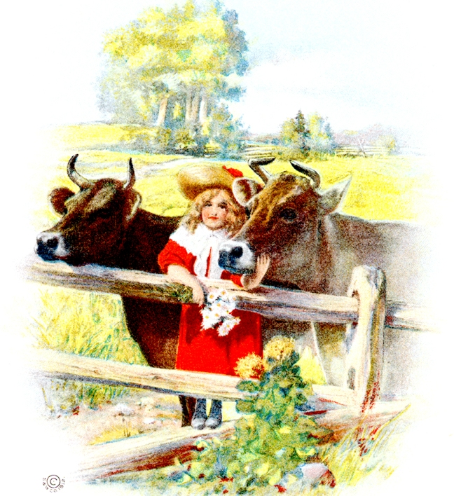 Illustration:  Girl and Two Cows.  Prattles For Our Boys and Girls  Hurst & Co.: New York. 1912