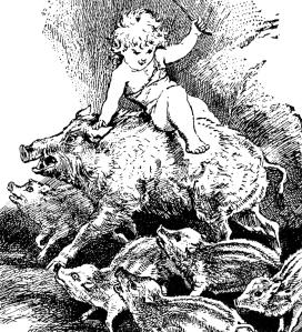 Illustration: Ride Boar's Back. Prattles. Hurst & Co.: New York. 1912.