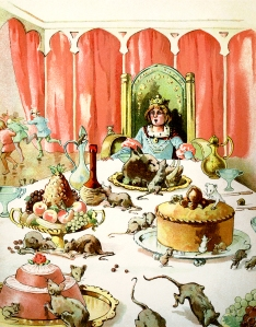 Illustration: Rats and Mice at King's Table. Dot's Picture Book Illustrations by: F. M. Barton, E. Heatly, N. Westrup & S. Carter. Dean & Son, Ltd.: London. Ca 1908.
