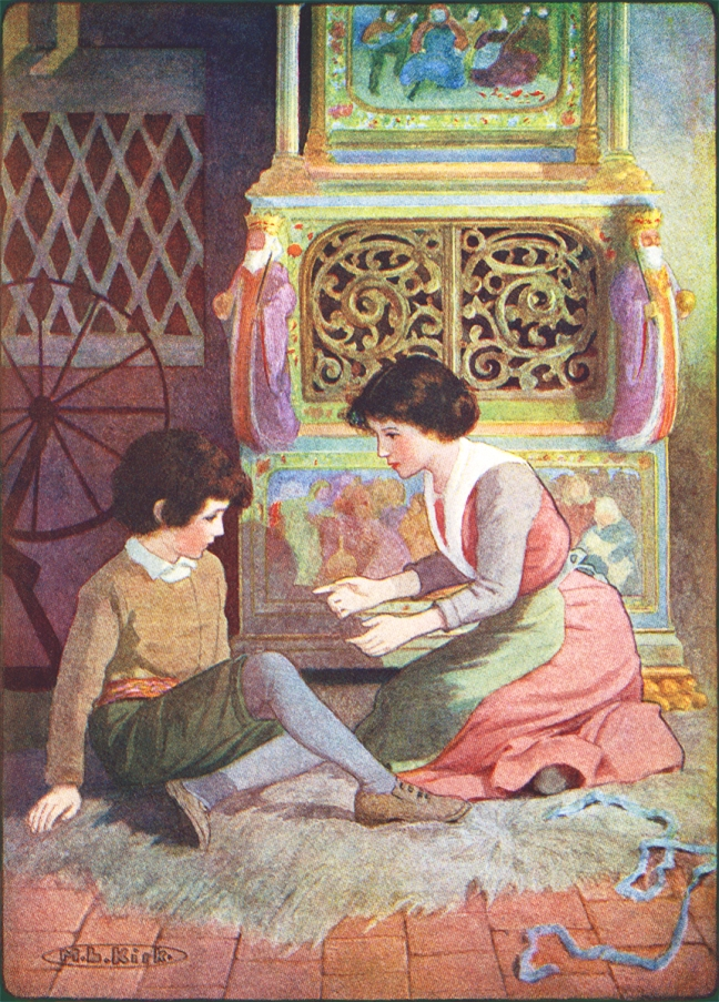 "Illustration:  ""It Is A Sin"" from the The Nurnberg Stove.  Louisa de la Rame.  Illustrated by Maria L. Kirk.  J. B. Lippincott Company: Philadelphia and London. 1916."