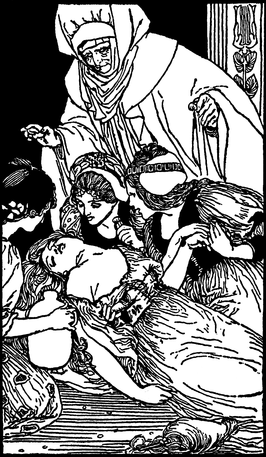 "Illustration: From the story ""The Sleeping Beauty""  MOTHER FAIRY-TALES.  Henry Altemus Company: Philadelphia. 1908."