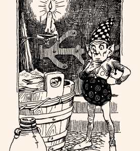 """Illustration: From the story """"The Elf at the Grocer's."""" Hans Andersen's Fairy Tales. By William Woodburn. Illustrated by Gordon Robinson. W. & R. Chambers, Limited: London & Edinburgh. 1917."""