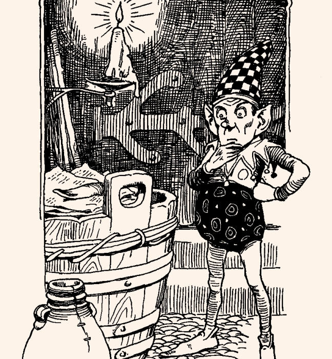 "Illustration:  From the story ""The Elf at the Grocer's.""  Hans Andersen's Fairy Tales.  By William Woodburn.  Illustrated by Gordon Robinson.  W. & R. Chambers, Limited: London & Edinburgh. 1917."