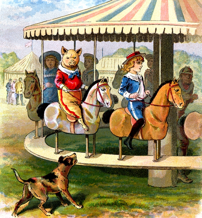 Illustration:  Pig At The Fair.  The Story of The Three Little Pigs.  McLoughlin Bro's: New York. Ca 1900.