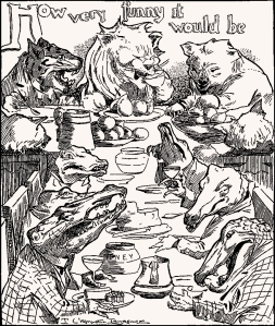 Illustration: How Very Funny It Would Be! Animal Antics. Louis Wain. S. W. Partridge & Co: London. Ca 1900-1910.