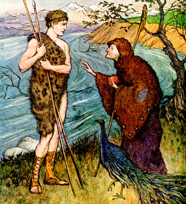 "Illustration:  From the story ""The Golden Fleece.""  Tanglewood Tales.  Written by Nathaniel Hawthorne.  Illustrations by Milo Winter.  Rand McNally & Company: Chicago & New York. 1913."