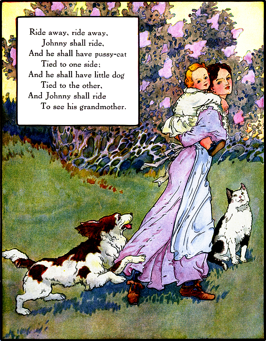 Illustration:  Ride Away.  Mother Goose Volland Popular Edition.  Edited by Eulalie Osgood Grover.  Illustrated by Frederick Richardson.  Published by P. F. Volland Company: New York, Chicago & Toronto. 1921.